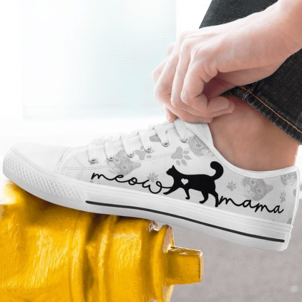 Cat lovers meow mama low top shoes