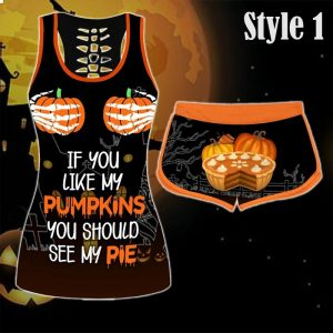 If you like my pumpkins you should see my pie halloween women tank top and short
