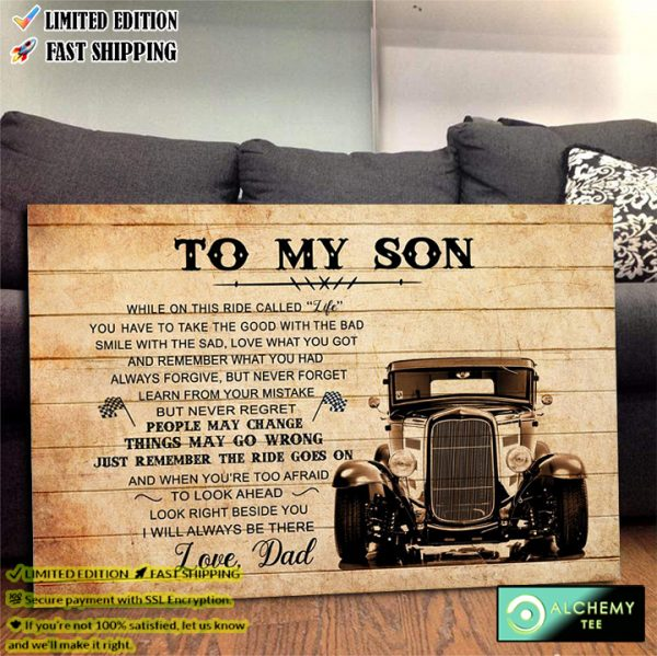 Hot Rod to My Son I Love You Always from Dad Gift Poster