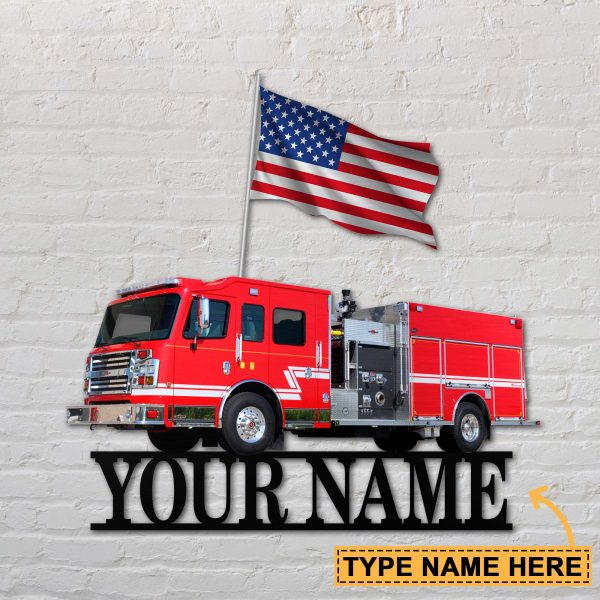 Firefighter Car Personalized Name Metal Sign