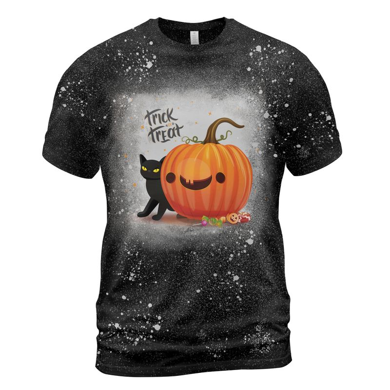 Trick Or Treat Cat And Pumpkin Bleached Shirt