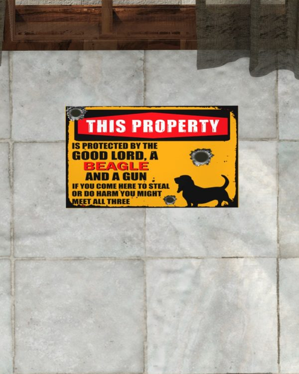 This Property Is Protected By Lord With Beagle And Gun Doormat
