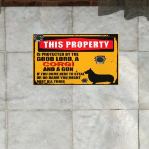 This Property Is Protected By Lord With Corgi And Gun Doormat 3