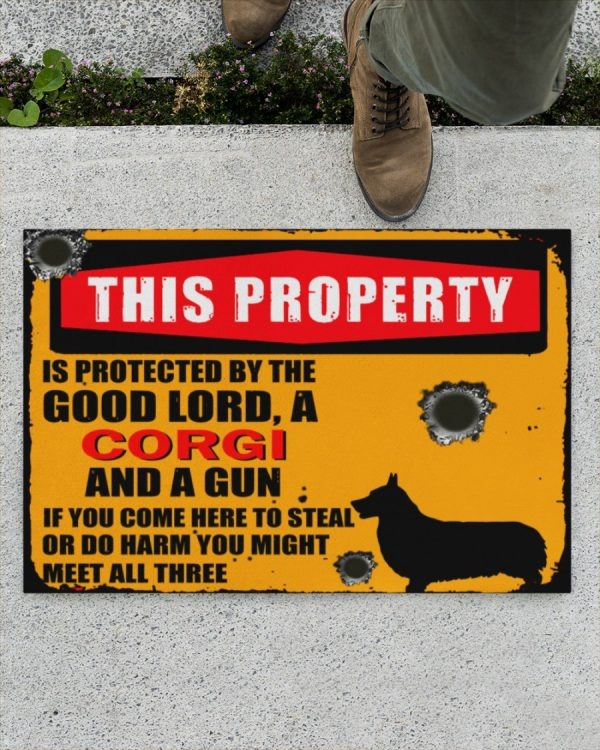 This Property Is Protected By Lord With Corgi And Gun Doormat