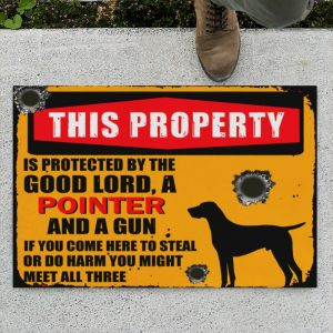 This Property Is Protected By Lord With Pointer And Gun Doormat