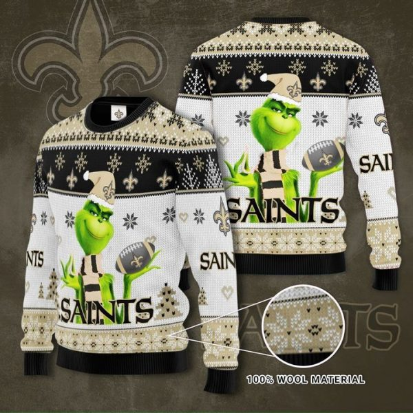 New Orleans Saints Grinch 3D Ugly Christmas Sweater