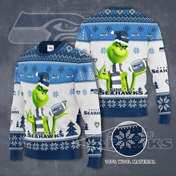 Grinch Seattle Seahawks 3D Ugly Christmas Sweater