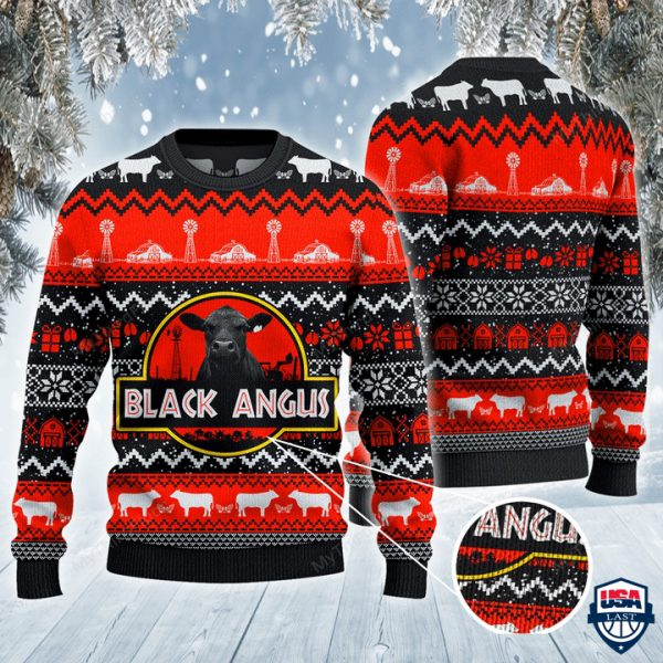 Black Angus Cattle Lovers Red Black Pattern All Over Print Ugly Sweater