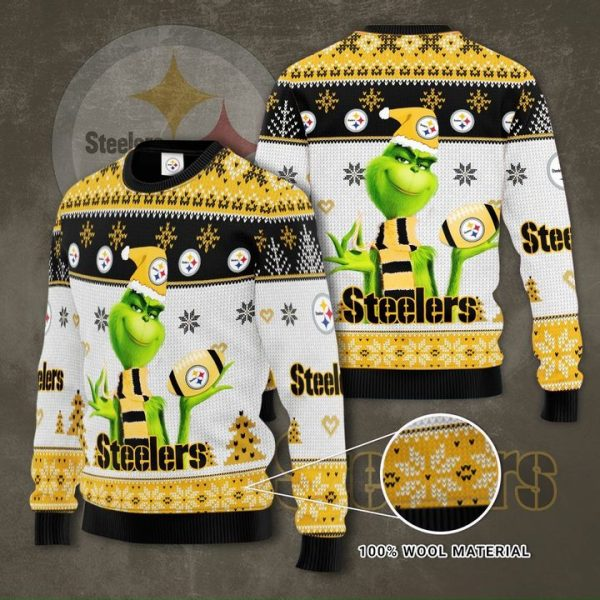 Grinch Pittsburgh Steelers 3D Ugly Christmas Sweater