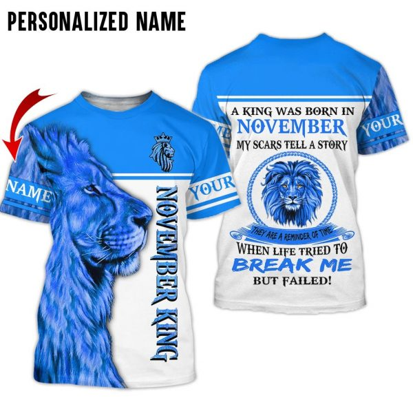Personalized Name Lion November Guy 3D All Over Print Shirts