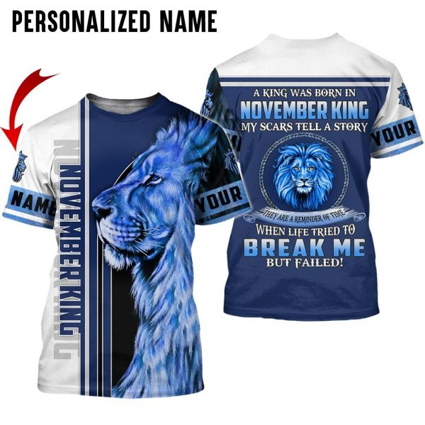Personalized Name Lion King Was Born In November Guy 3D All Over Print Shirt