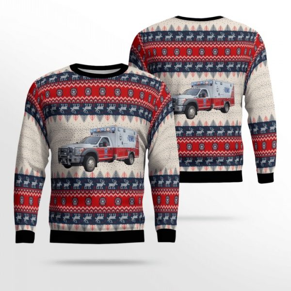 Williamson County TX EMS Ford F-450 Wheeled Coach Ambulance Ugly Christmas Sweater
