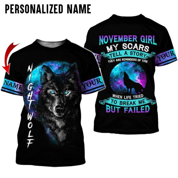Personalized Name Wolf November Girl 3D All Over Print Shirt