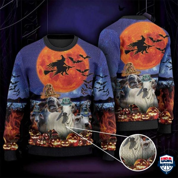 Brahman Cattle Lovers Halloween Moon All Over Print Ugly Sweater