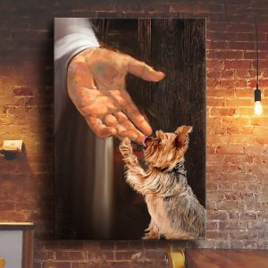 Jesus Yorkshire Terrier in the hand of god canvas print